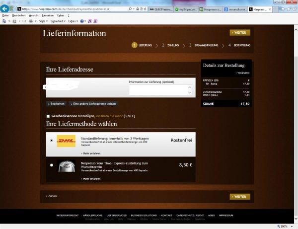 Nespresso online versandkostenfrei ab 50 Kapseln -