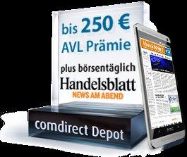 comdirect (Fonds-) Depot Vermittlerwechsel zu AVL mit bis zu 250 Euro Prämie