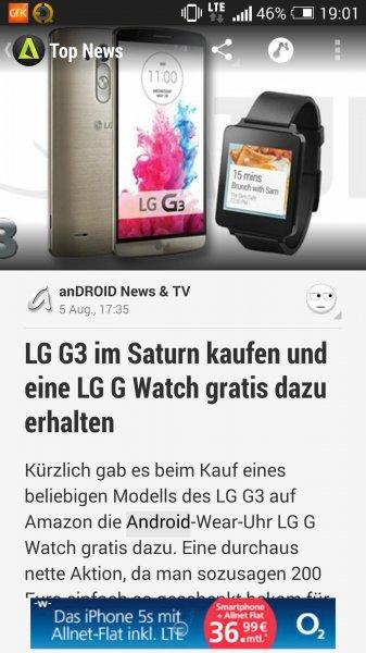 LG G3 bei Saturn kaufen+ LG G Watch umsonst dazu