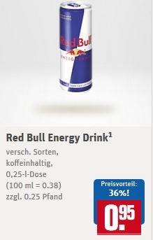 [REWE]  Red Bull 0,95cent versch. Sorten, zzgl. Pfand 0,25cent