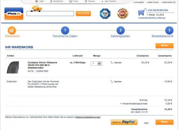 Zahlreiche Reifen 10 Euro billiger als Idealo durch Plus Gutschein (Bsp:Goodyear Vector 4Seasons 185/65 R14 86H. für 53 € anstatt 63 €)