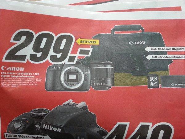 MM Recklinghausen Canon Eos 1200d + 18-55mm DC + Tasche + 8GB SD Karte für 299 Euro