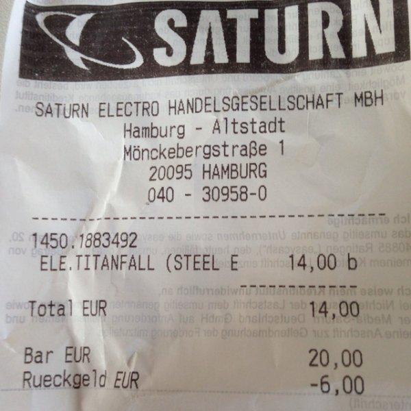 Saturn HH-Mönckebergstraße titanfall steelbook (pc) 14€