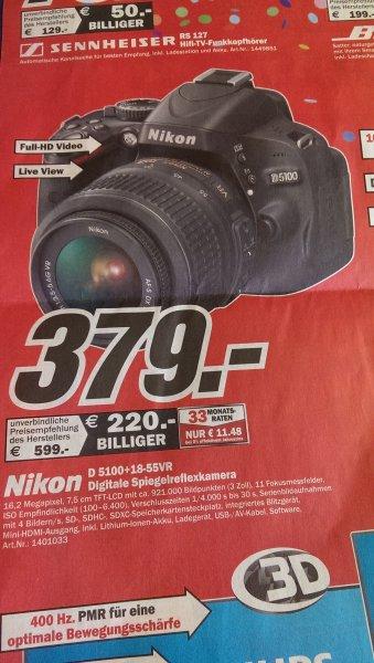 Nikon D5100 Kit 18-55 mm [Nikon VR] für 379€ Lokal [Mediamarkt Bochum (Ruhrpark)]