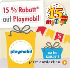15% Rabatt* auf alle PLAYMOBIL-Artikel + Kombi mit Newsletter-Gutschein möglich[mytoys]