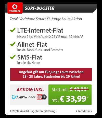 Vodafone Smart XL bspw. mit Samsung Galaxy Tab 3 7.0 Lite WiFi  und Galaxy S5 16GB für 35,03€/Monat (oder weniger!) bei Sparhandy.de | für junge Leute