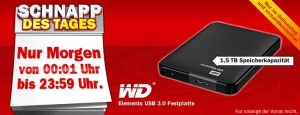 "Mediamarkt WD Elements Portable 1,5TB 2,5"" Festplatte USB 3.0"