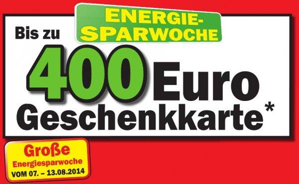 [Media Markt Speyer, Heilbronn & Umgebung | PLZ 7] Energie-Sparwoche (07.08 - 13.08.2014) - Gutscheinkarten im Wert von bis zu 400€ auf ausgewählte TV und Haushaltsgeräte | z.B. Samsung UE48H6690 für 1019€ , Sony KDL-55W815B für 1099€/1199€, ...