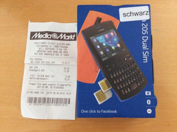 [lokal MM Potsdam] NOKIA Asha 205 Dual-SIM ohne SIM-Lock