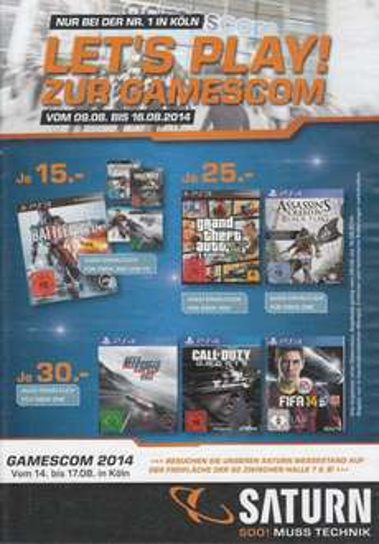 [Lokal Köln] Gamescom Angebote bei Saturn vom 09.08 - 16.08.2014