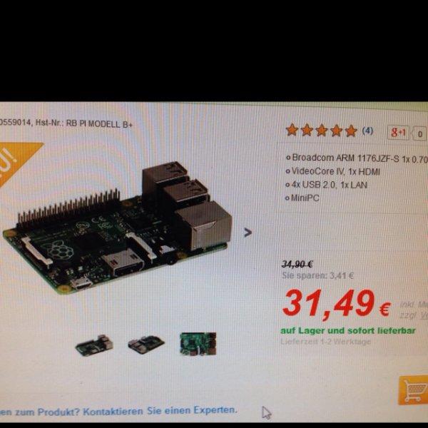 Raspberry Pi Model B+ 512MB 31,49€