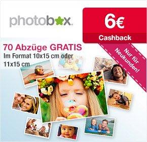 3 Euro Gewinn durch 70 Fotoabzüge für 2,99 Euro und 6 Euro Cashback @Photobox