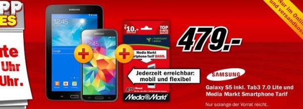 Media Markt Schnapp des Tages: Samsung Galaxy S5 und Tab3 7.0 Lite 479.- Euro