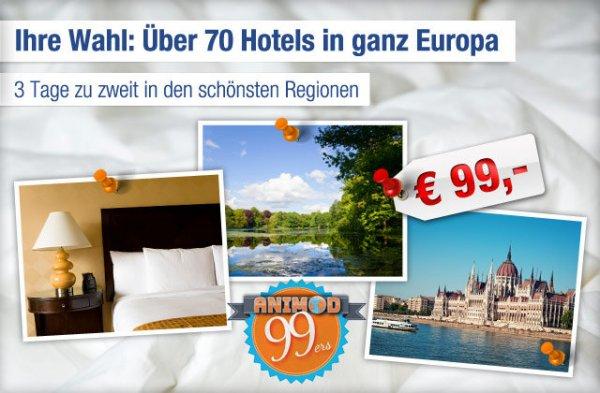 Wieder da (?): 2 Übernachtungen für 2 Personen in 79 europäischen Hotels für 99€