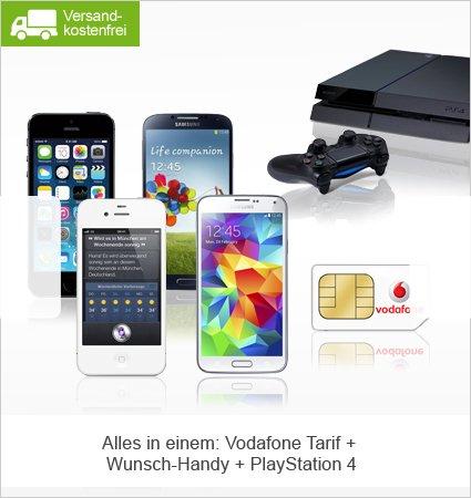 Apple iPhone 5s 16GB, iPhone 4s 8GB, Samsung Galaxy S5 oder Galaxy S4 + Sony PlayStation 4 mit 500GB mit Vodafone Smart XL und gratis Datenkarte (1GB Datenvolumen) ab 33,99 €/Monat dazu – Allnet-Flat – Telefonie, SMS und Internet