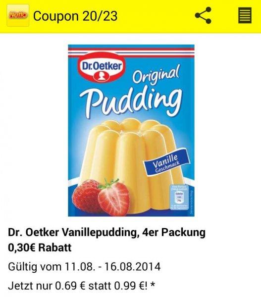 [Netto App] Dr. Oetker Vanillepudding 5er Packung [mit Reebate Cashback nur 0,36€]