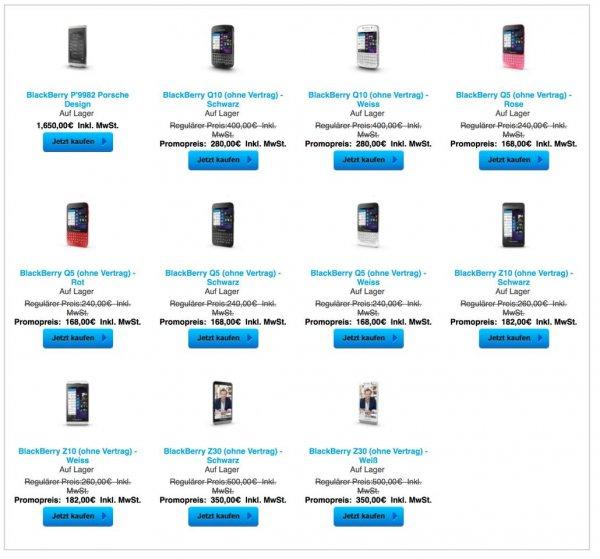 30% Rabatt über Promopreis im Blackberry Shop