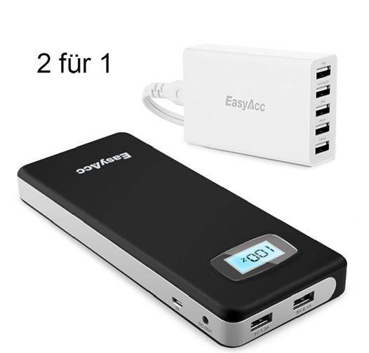 [Amazon] Gratis  EasyAcc 25 Watts 5V / 5A Wall Charger beim Kauf von  EasyAcc 20000 mAh Dual USB PowerBank mit Code