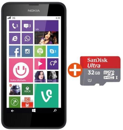 Nokia Lumia 635 LTE schwarz + 32GB microSDHC Ultra SanDisk €149,-