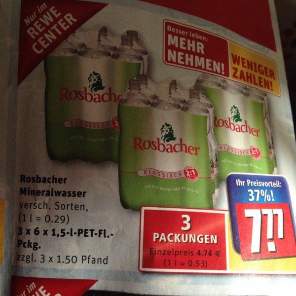 Rosbacher wasser bei rewe center 2,59euro