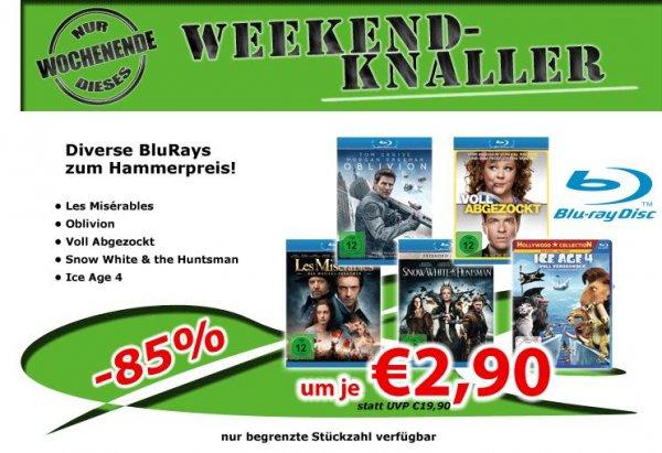 [0815.eu] 5x Blu Ray: Ace Ige 4 / Les Misérables / Oblivion / Snow White and the Huntsman / Voll abgezockt => für zusammen 21,49 €