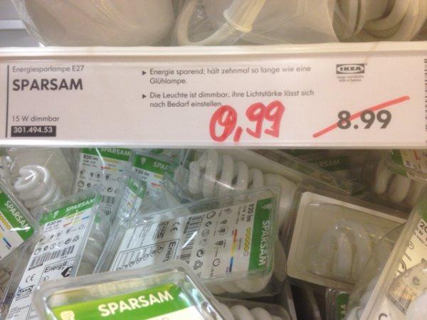 """Ikea energie Sparlampe """"Sparsam"""" von 8,99€ auf 0,99€ reduziert Ikea Dortmund (Lokal)"""