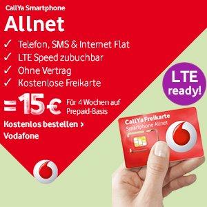 Kostenlose CallYa Freikarte - 1. LTE fähige Prepaid in D-Netz-Qualität + 5 Euro Cashback + 5x1000€ Amazon Gutschein gewinnen