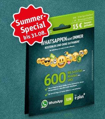 WhatsApp Prepaid Sim (1GB Whatsapp kostenlos / 9Ct pro Minute / SMS) - neues Angebot für 5€ mit 15€ Startguthaben