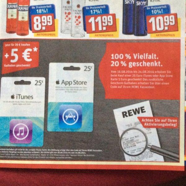 [Rewe Bundesweit] 5€ zusätzlich auf alle 25€ iTunes Karten