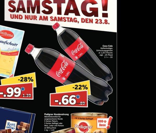 Coca Cola beim Lidl für knappe -.53 Cent pro Liter  Supersamstag 23.08.