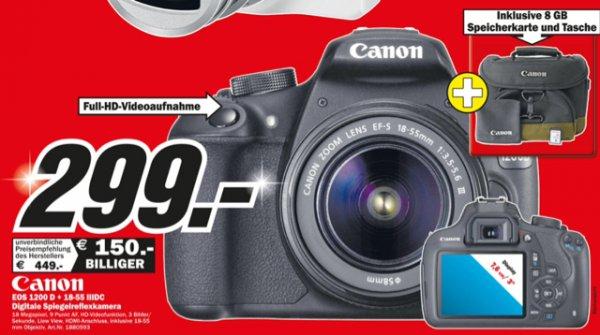 Canon EOS 1200D mit 18-55mm f/3.5-5.6 III DC Objektiv, 8GB Speicherkarte und Tasche (Canon 100EG) @ Media Markt Wuppertal