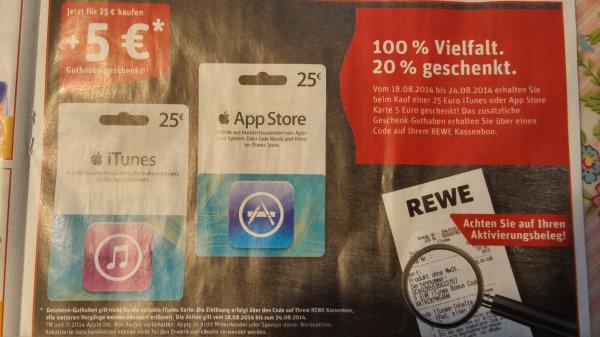 5 € Extra für den Kauf von der 25 € iTunes Karte bei Rewe