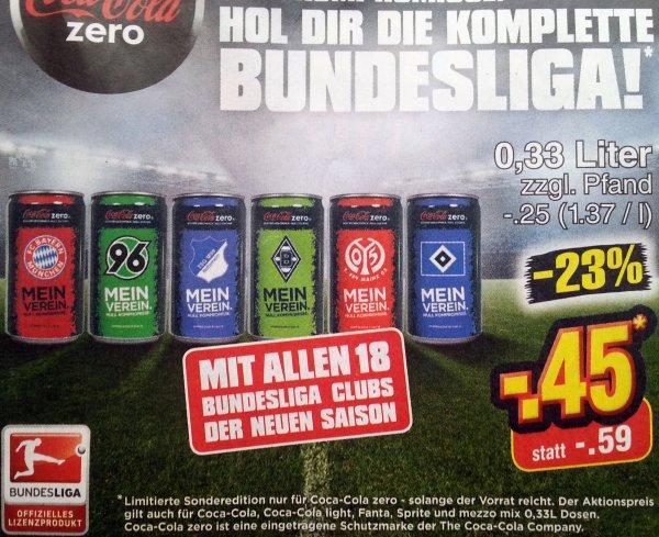 BUNDESLIGA Fan-Dosen von Cola Zero bei Netto Marken Discount