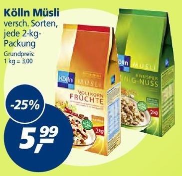 [real,-] Kölln Müsli 2kg Packung für 5,99€