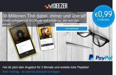 3 Monate Deezer Premium+ für 99ct