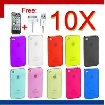 10X Tasche Hülle Schutzhülle Für iPhone 4 +Folie+Kabel @ EBAY
