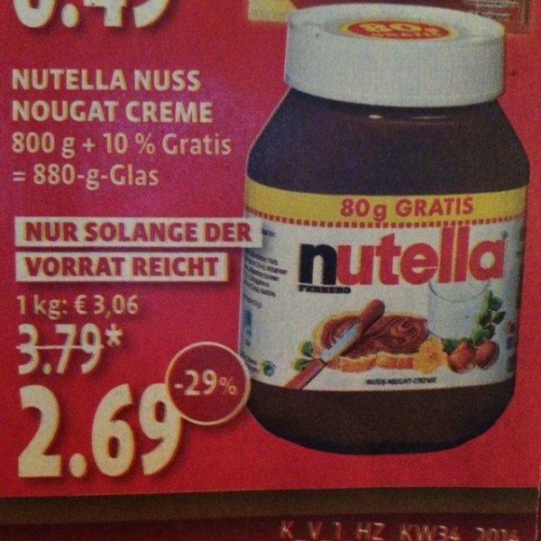 [mind. NRW-weit] Kaisers Nutella 880g 2,69€ (3,06€/kg)