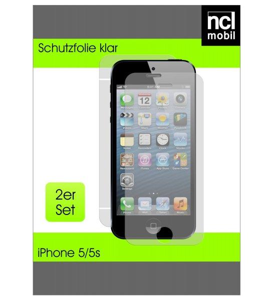 4 x ncl mobil Schutzfolie klar iPhone 5S Crystal Clear transparent 2 x Vorderseite + 2 x Rückseite für 0,90€ +1€ Versand @Amazon