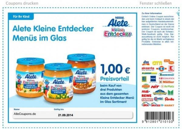 (Müller) 20% auf Alete - Coupons - Gläschen ab 14 cent!!!