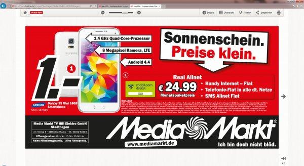 Galaxy S5 Mini für 1€ mit Mobilcom/Base Vertrag..Allnet Flat+1GB Transfervolumen(Lokal)