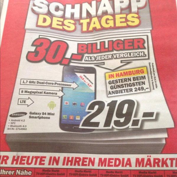Samsung S4 Mini überall bei Media Markt Hamburg