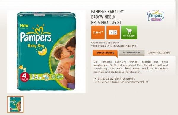 PAMPERS BABY DRY GR. 4, 6x 34 ST (-5€ Gutschein)
