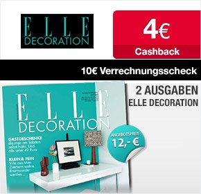 """Qipu: 2 Ausgaben """"ELLE DECORATION"""" für 12€ + 10€ Verrechnungsscheck + 4€ Cashback --> eff. 2€ Gewinn"""