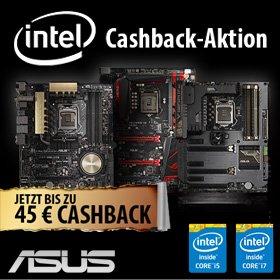 Bis zu 45,-€ Cashback bei Kauf Verschiedener ASUS Mainboards mit CPU@Mindfactory und weitere Cashback Aktionen durch INTEL (MSI,GIGABYTE,INTEL,ASROCK)