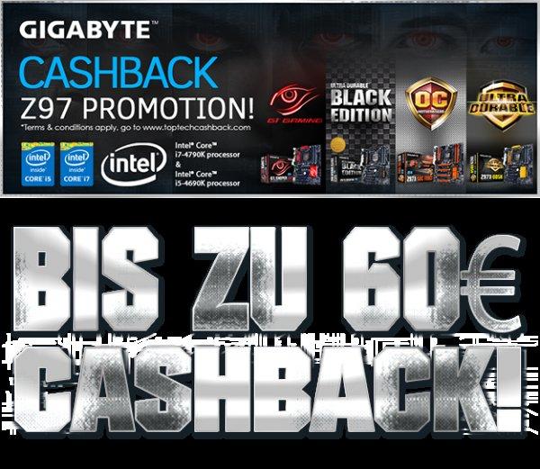 Jetzt bis zu 60€Cashback beim Kauf eines GIGABYTE Z97-Mainboards