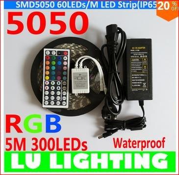 [Aliexpress CN] Preis gilt nur am 19.8.14 !! 5 Meter LED Rgb 5050 Strip Wasserdicht 60 Led/m mit 44er Fernbedienung & Netzteil 6 A