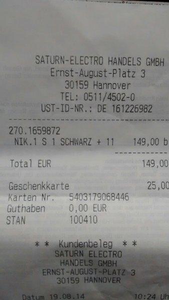 [Saturn Hannover Ernst-August-Platz] Nikon 1 S1 mit 11-27,5mm Kitobjektiv