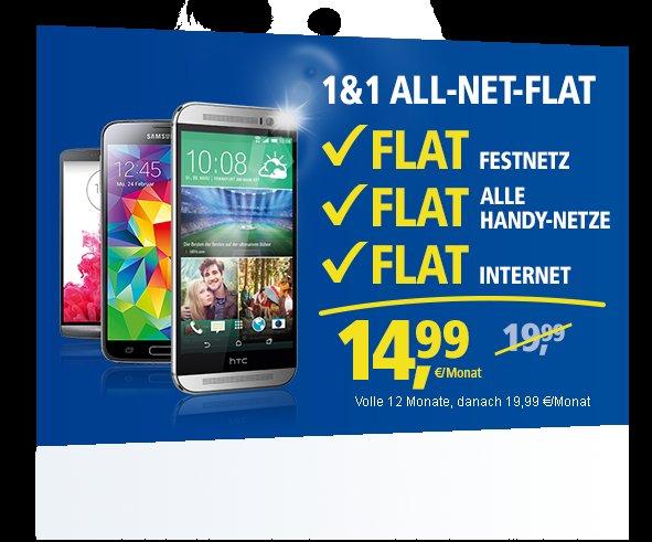 All-Net-Flats von 1&1 im August mit doppeltem Datenvolumen für Neuverträge