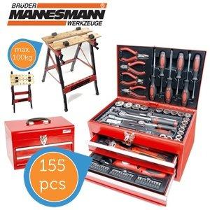 Mannesmann 155-teiliger Werkzeugkasten mit Werkbank 79,95€ zzgl. 8,95€ Versand @iBOOD