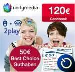 Unitymedia – 2play PLUS 100 – 120€ Cashback + 50€ BestChoice Gutschein (ohne AG,mit WLan)